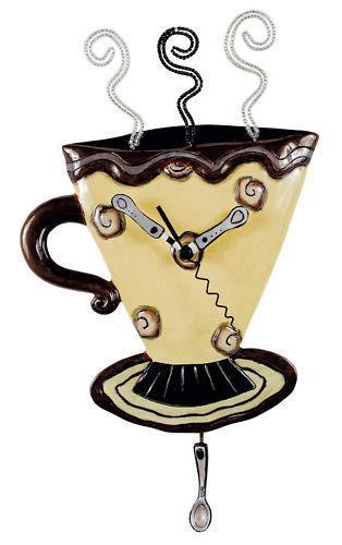 allen designs mocha cup clock wanduhr. Black Bedroom Furniture Sets. Home Design Ideas