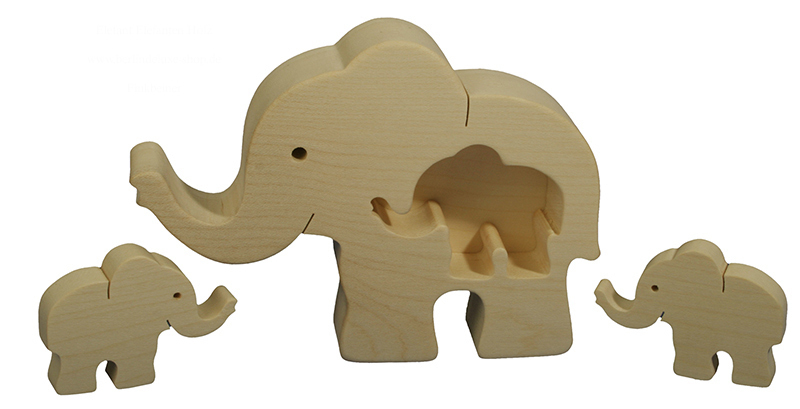 finkbeiner holz design elefanten familie neu ovp elefant figur mit 2 jungtieren ebay. Black Bedroom Furniture Sets. Home Design Ideas