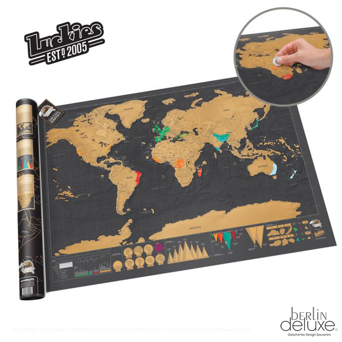 luckies scratch map deluxe xl new original package. Black Bedroom Furniture Sets. Home Design Ideas