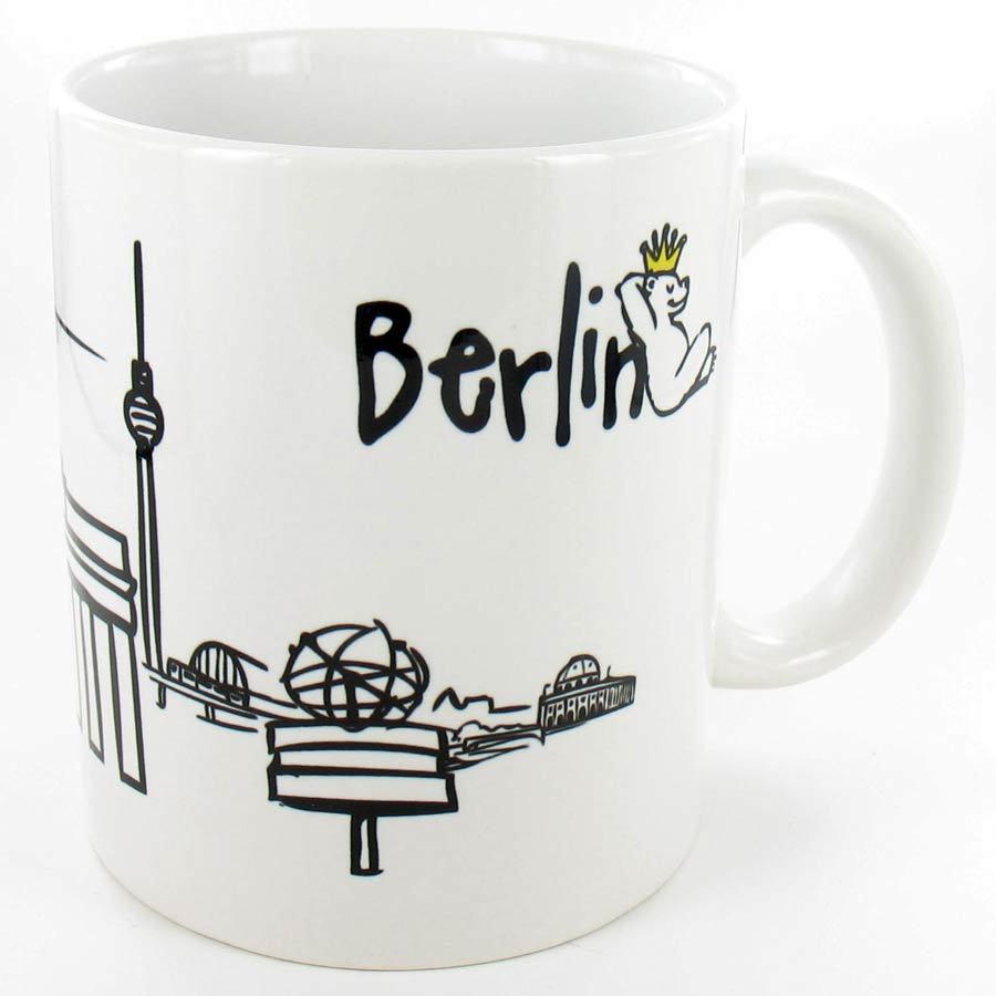 tasse berlin skyline keramik weisser becher im berlin deluxe shop. Black Bedroom Furniture Sets. Home Design Ideas