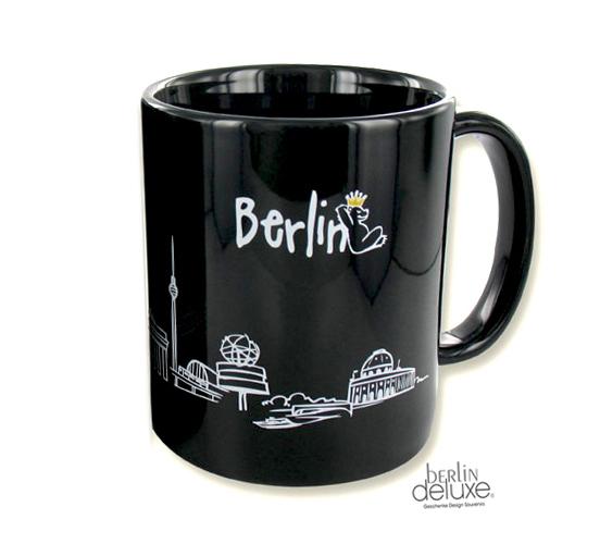Tasse BERLIN Skyline Bär, weiß   Hauptstadtmarke BERLIN