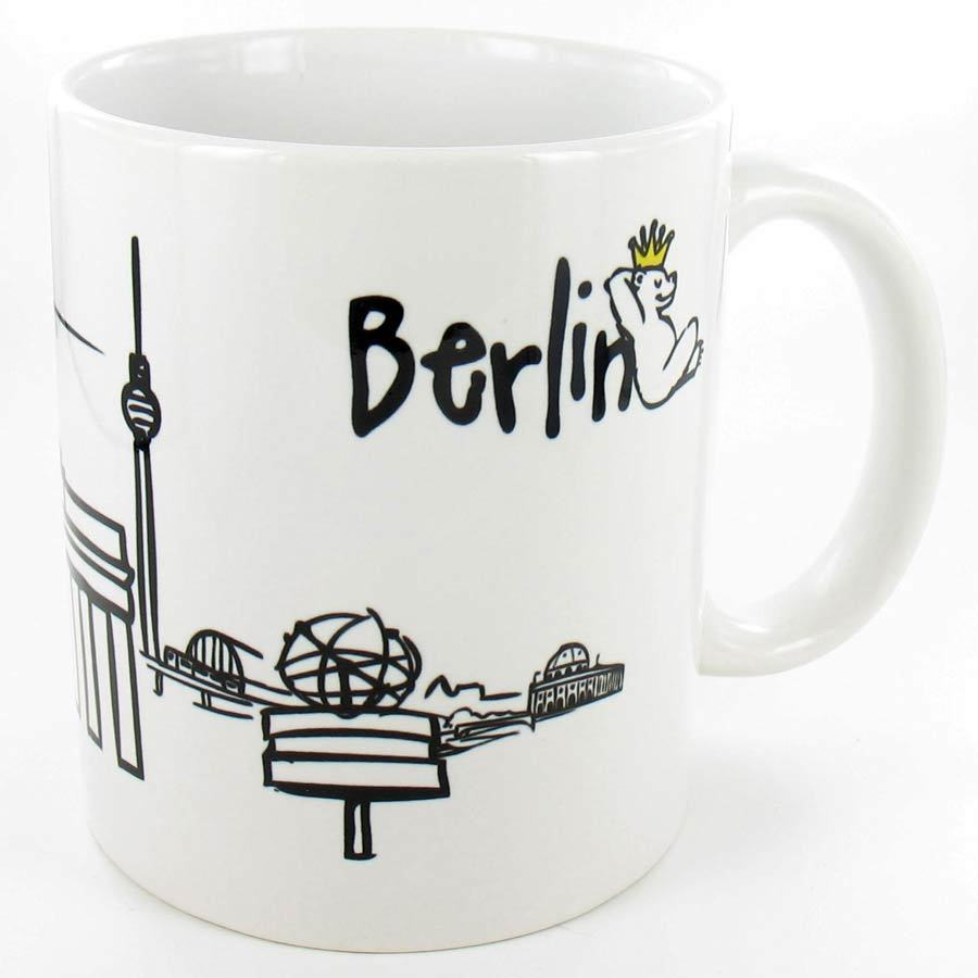 Tasse BERLIN Skyline Bär, weiß | Hauptstadtmarke BERLIN