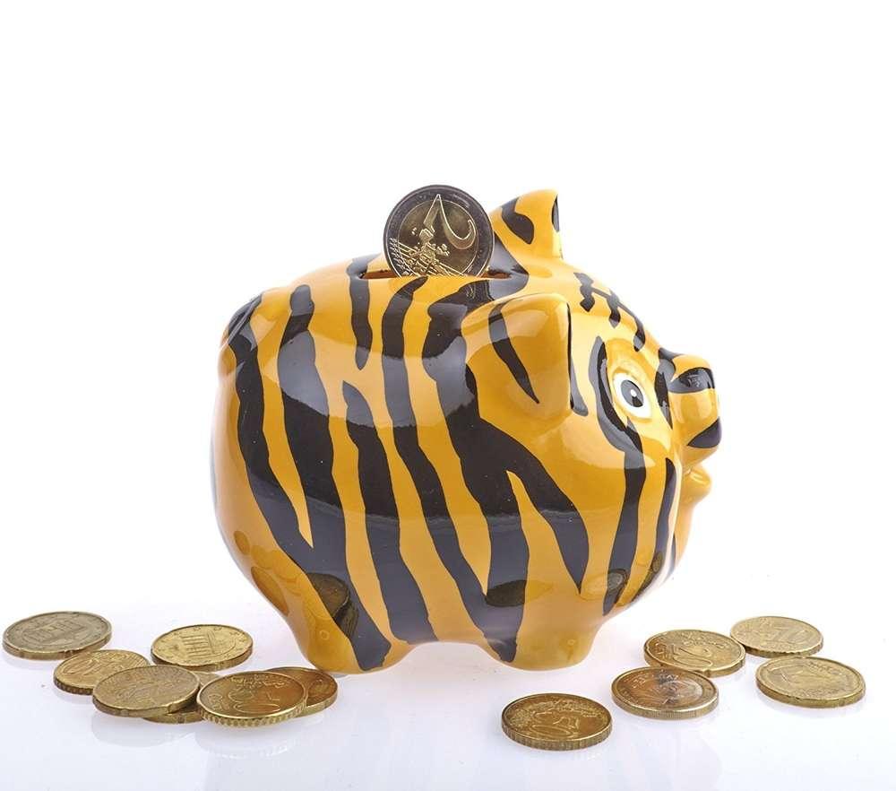 lustiges m chtegern sparschwein tiger neu ovp bunte spardose keramik ebay. Black Bedroom Furniture Sets. Home Design Ideas