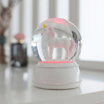 Einhorn Schneekugel mit LED - thumbs up